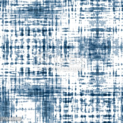 Tie dye shibori seamless pattern. Watercolor hand painted indigo blue navy stripes on white background. Watercolour abstract striped plaid texture. Print for textile, fabric, wallpaper, wrapping paper