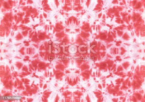 Tie dye shibori seamless pattern. Watercolor hand painted red ornamental elements on white background. Watercolour abstract texture. Print for textile, fabric, wallpaper, wrapping paper.