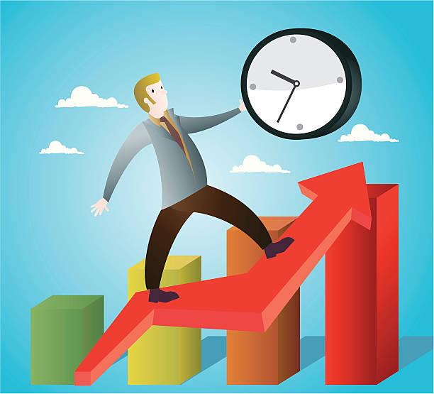 Tiempo de liderazgo Un empleado de traje con un gran reloj en la mano asciende por una flecha sobre un grAA!fico de barras como metAA!fora de la relaciAAn entre el tiempo y el creciemiento de un negocio. tiempo stock illustrations