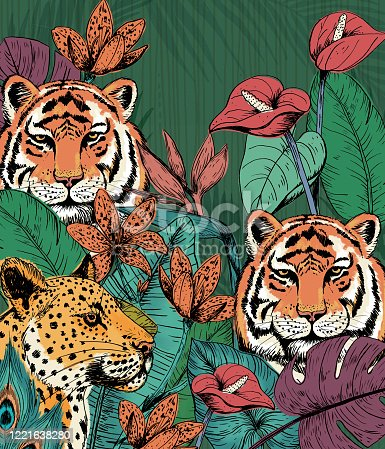 Wild cats background. This was hand drawn in ink, scanned and digitally colored.
