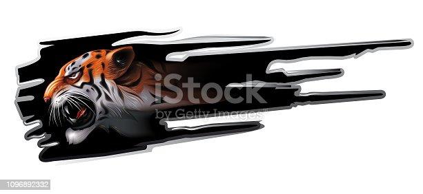 Snarling tiger in profile. vector sticker.