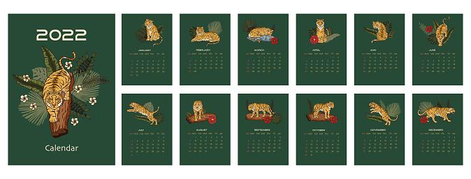 Tiger calendar cartoon printable a4 vector illustration.
