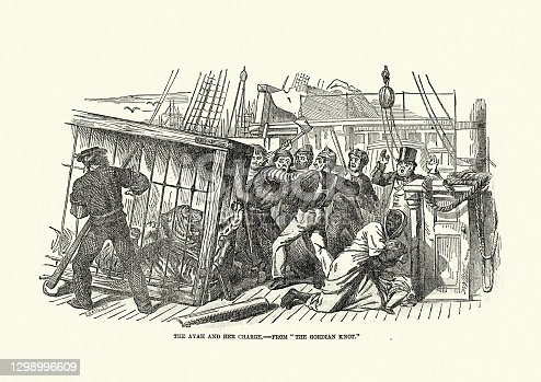 istock Tiger escaping from a cage in a sailing ship, Victorian 1850s, 19th Century 1298996609