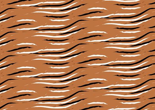 Tiger handdwrawn seamless pattern
