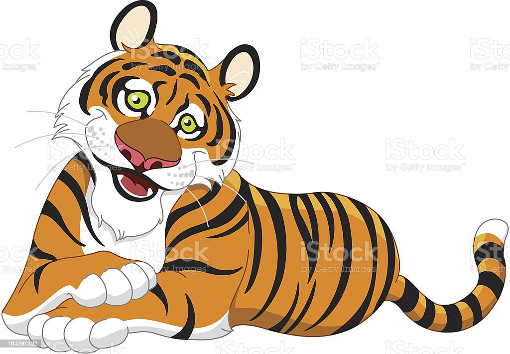 royalty free cute tiger cartoon lay down clip art vector images rh istockphoto com tiger clipart free black and white tiger mascot clipart free
