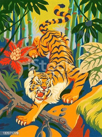 istock Tiger Slinking Through Jungle 132071779