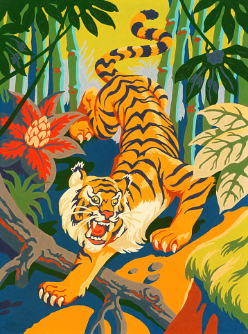 Tiger Slinking Through Jungle