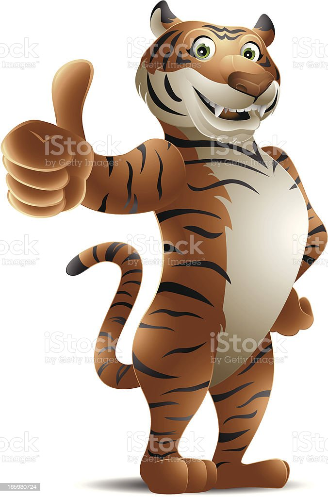 Tiger: Thumbs up! royalty-free stock vector art