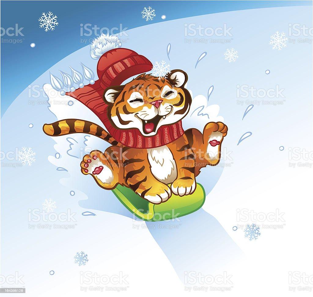 TigerWinterSledding vector art illustration