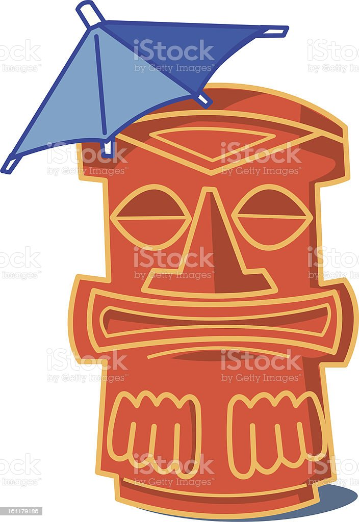 Tiki Glass with Paper Umbrella royalty-free stock vector art