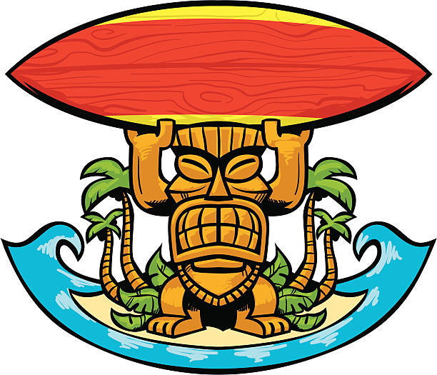 tiki surf crest vector art illustration