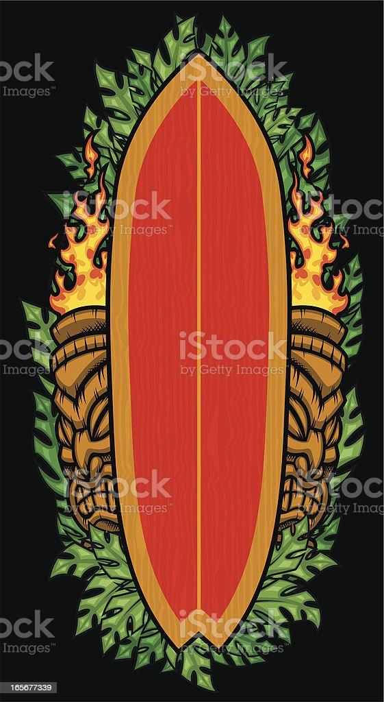 tiki surfboard vector art illustration