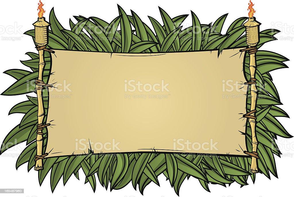 tiki torch jungle vector art illustration