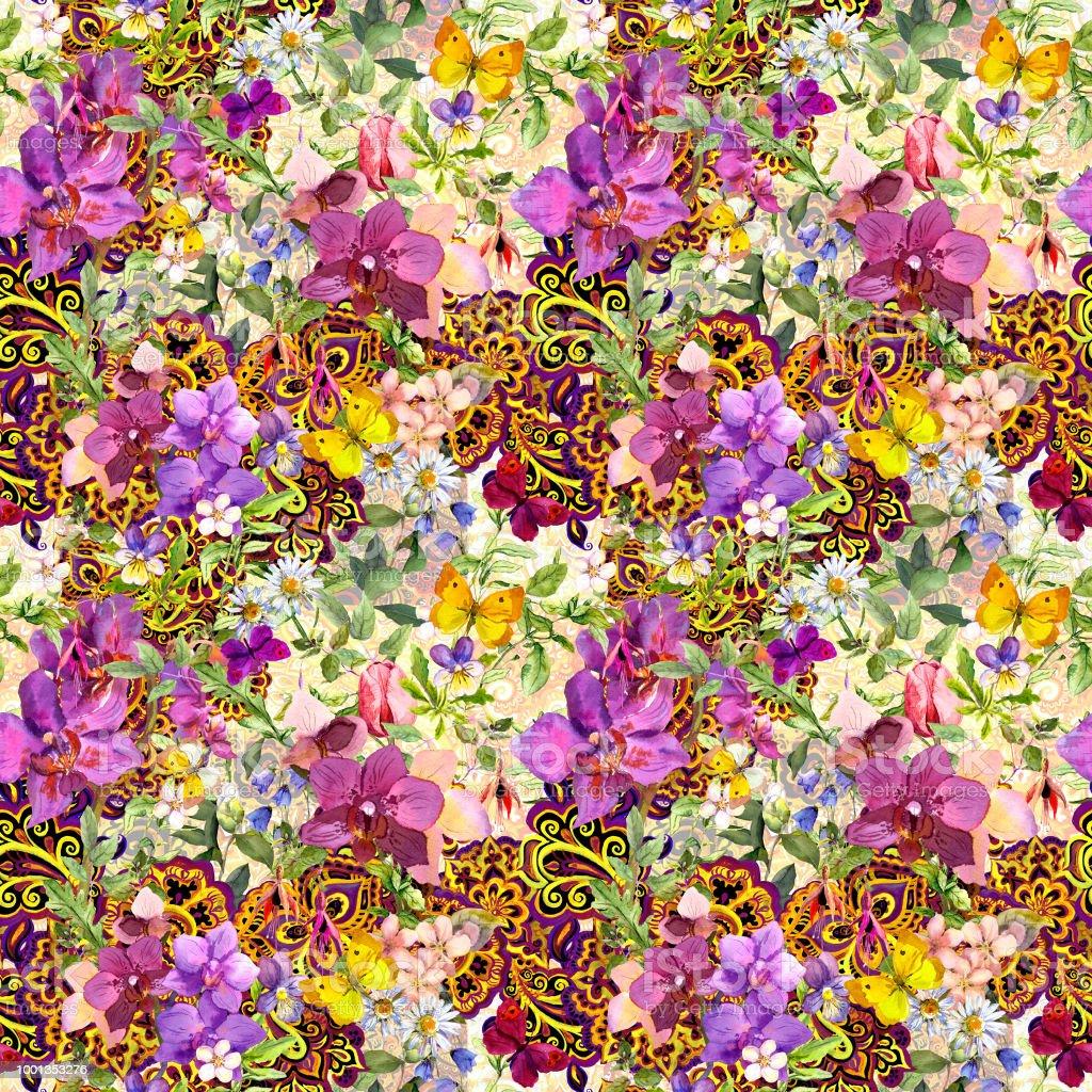 Gekachelte Blumenmuster Zeitgenössischen östlichen Dekor Paisley ...