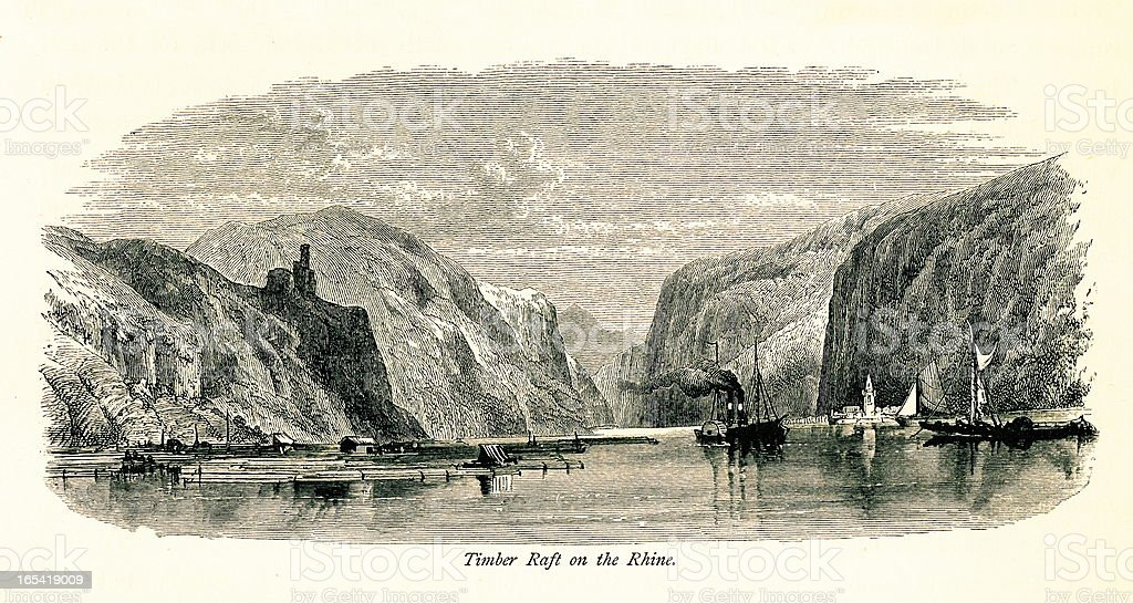 Timber raft on the Rhine, Germany I Antique European Illustrations royalty-free timber raft on the rhine germany i antique european illustrations stock vector art & more images of 19th century