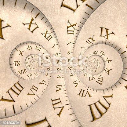 istock Time concept: two clocks spiraling with vertigo effect 501203794
