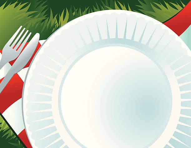 zeit für ein picknick!! - plastikteller stock-grafiken, -clipart, -cartoons und -symbole