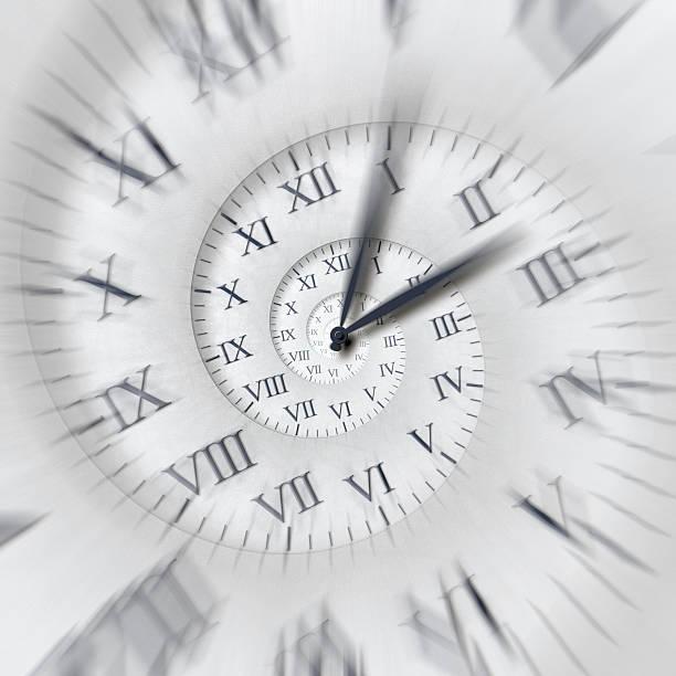 Time runs: clock hands spinning fast on time spiral vector art illustration