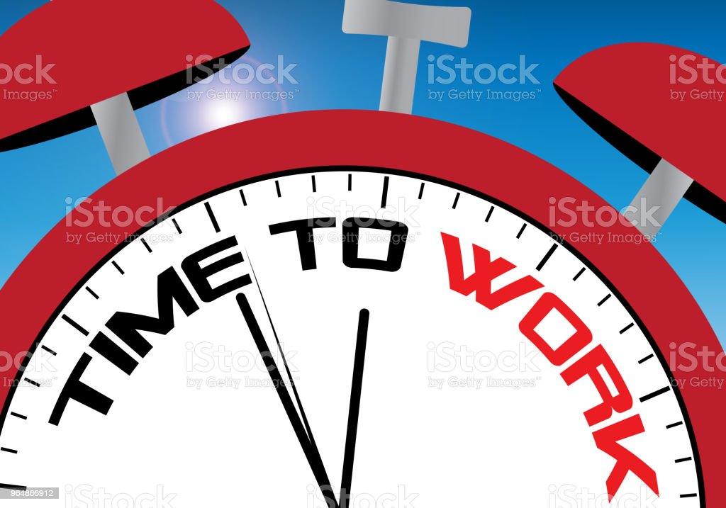 Time to work clockface in sunny sky royalty-free time to work clockface in sunny sky stock vector art & more images of addiction