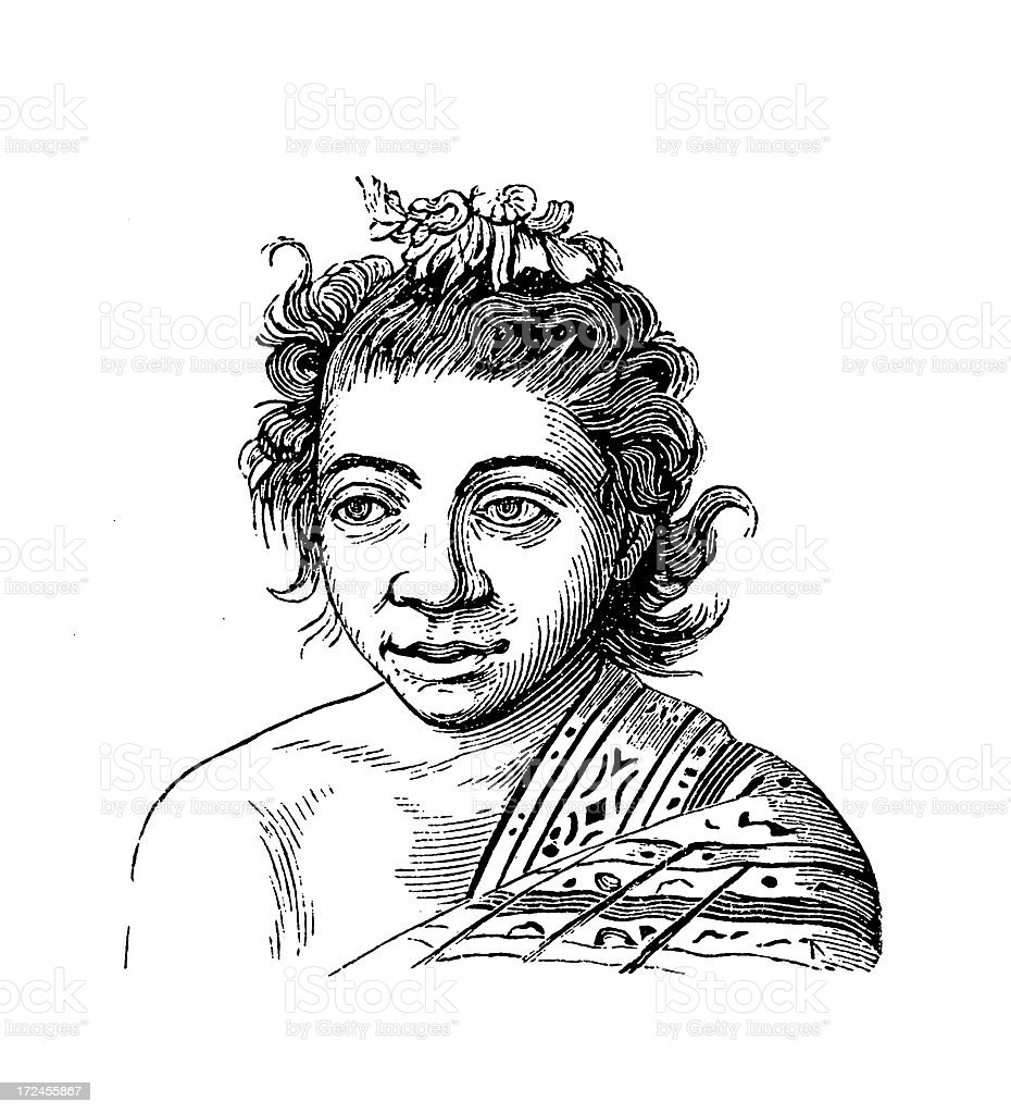 Timorese (antique wood engraving) royalty-free stock vector art