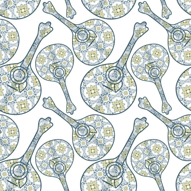 ilustrações de stock, clip art, desenhos animados e ícones de tipical portuguese fado guitar and azulejo tiles background. vector illustration. seamless music portuguese guitar instrument background pattern - eletrico lisboa