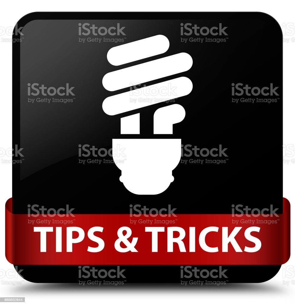 Tips and tricks (bulb icon) black square button red ribbon in middle vector art illustration