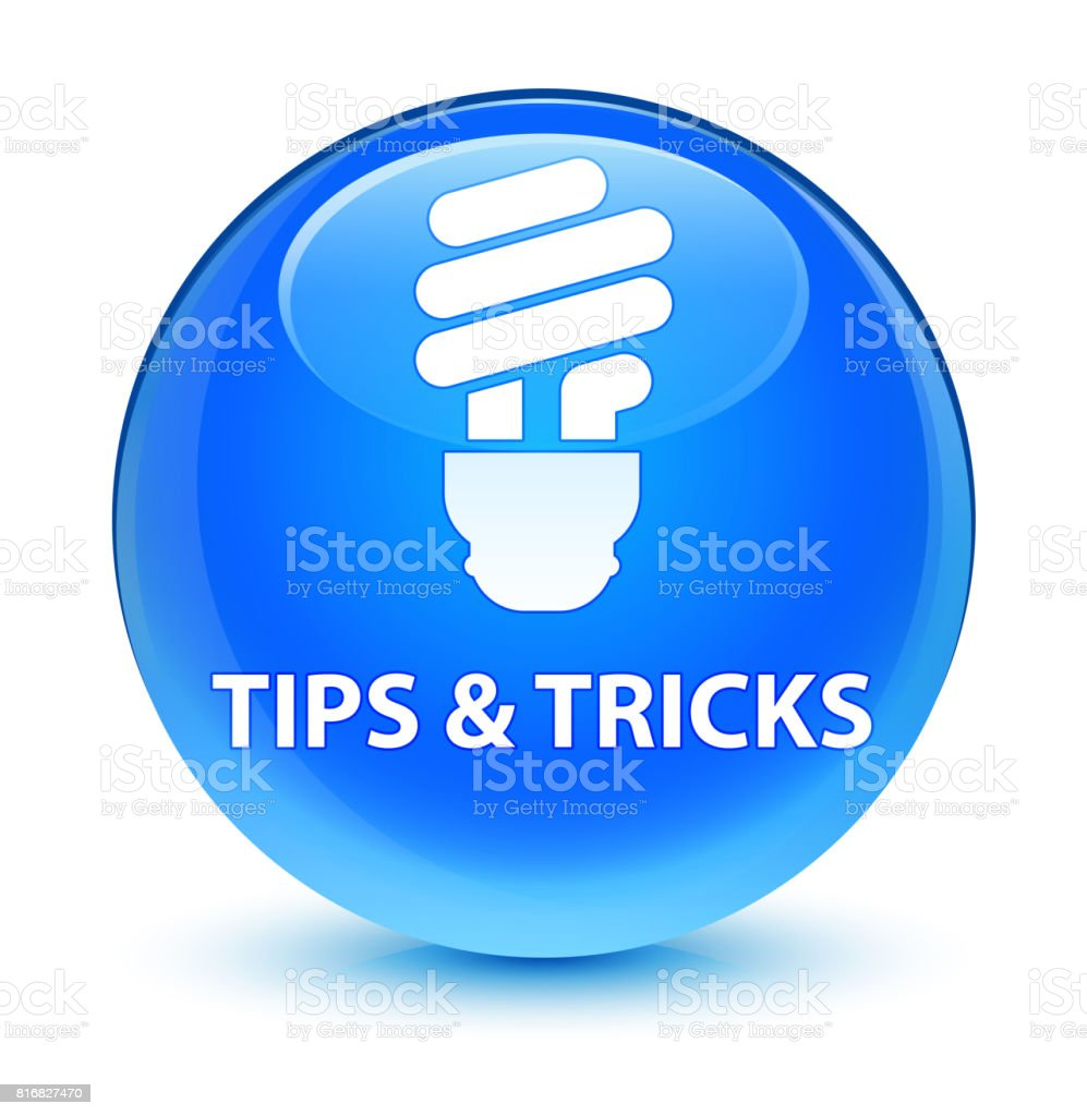 Tips and tricks (bulb icon) glassy cyan blue round button vector art illustration