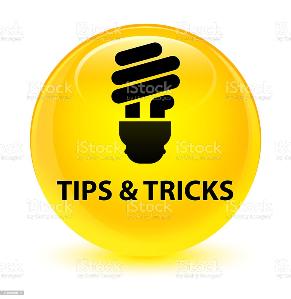 Tips and tricks (bulb icon) glassy yellow round button vector art illustration