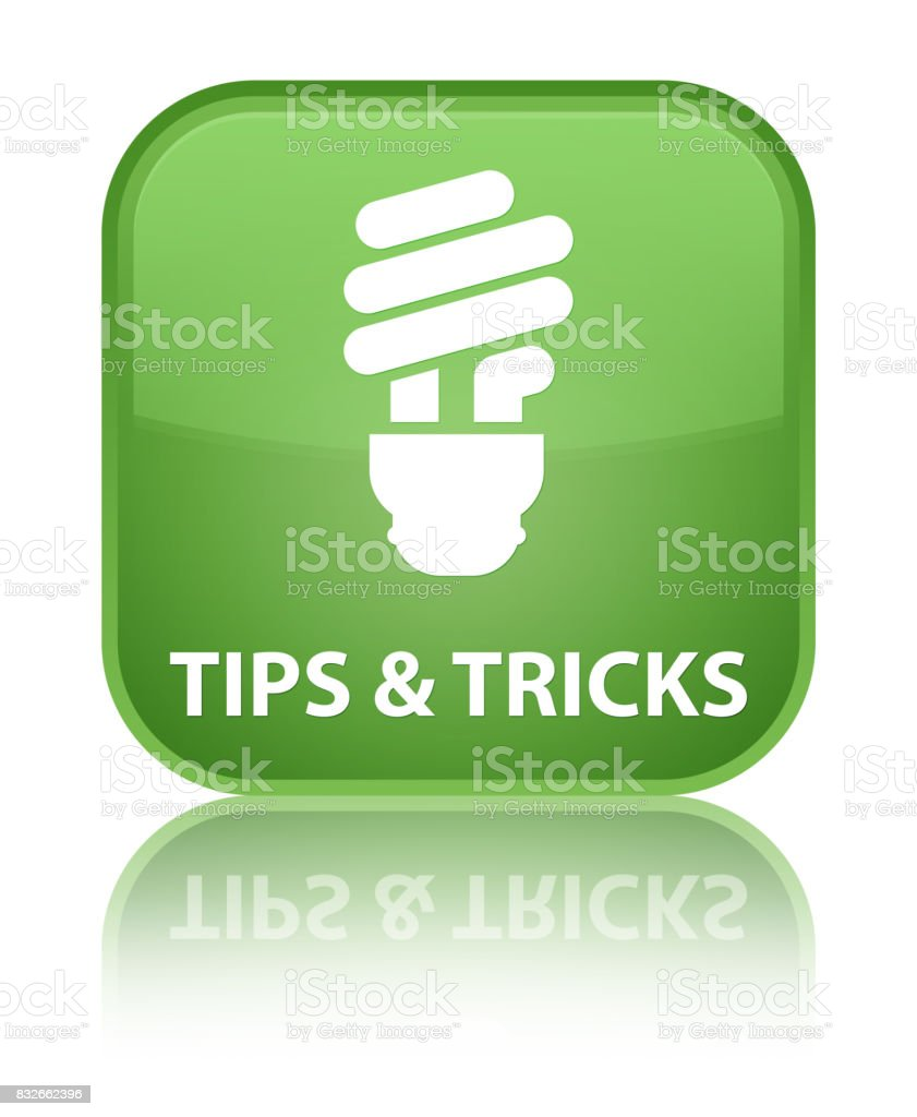 Tips and tricks (bulb icon) special soft green square button vector art illustration