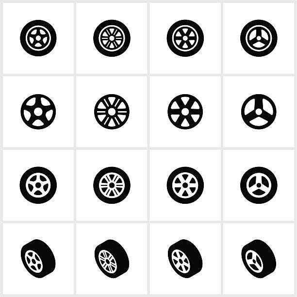 Tire and Rim Icons Tires and rims. All white strokes/shapes are cut from the icons and merged allowing the background to show through. tires stock illustrations
