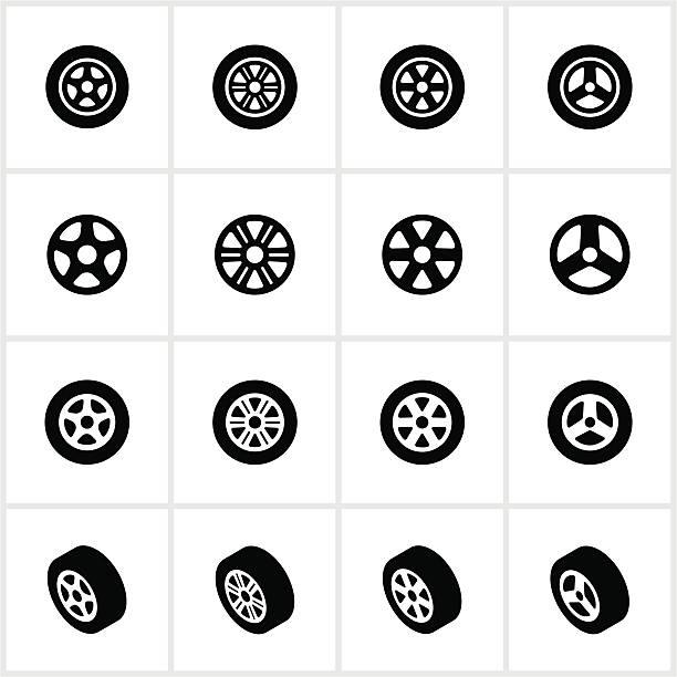 ilustraciones, imágenes clip art, dibujos animados e iconos de stock de tire y iconos de borde - tires