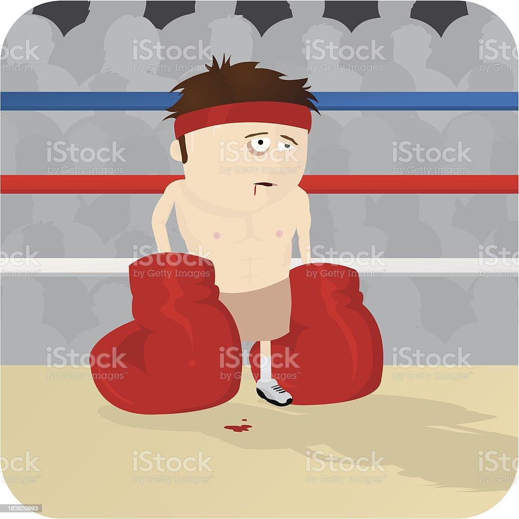 Tired Boxer vector art illustration