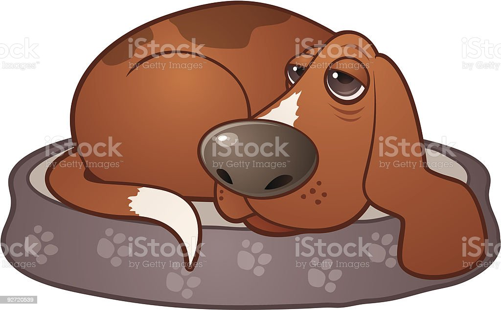 Tired Dog vector art illustration