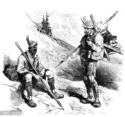 Tired hiker take a break on a mountain slope - 1896