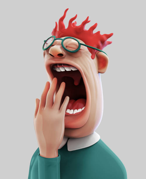 Tired yawning man 3D illustration Tired man with wide open mouth yawning eyes closed 3D illustration isolated boredom stock illustrations