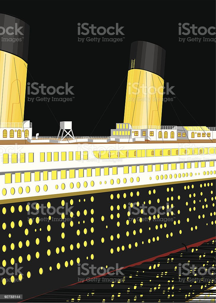 Titanic at night vector art illustration