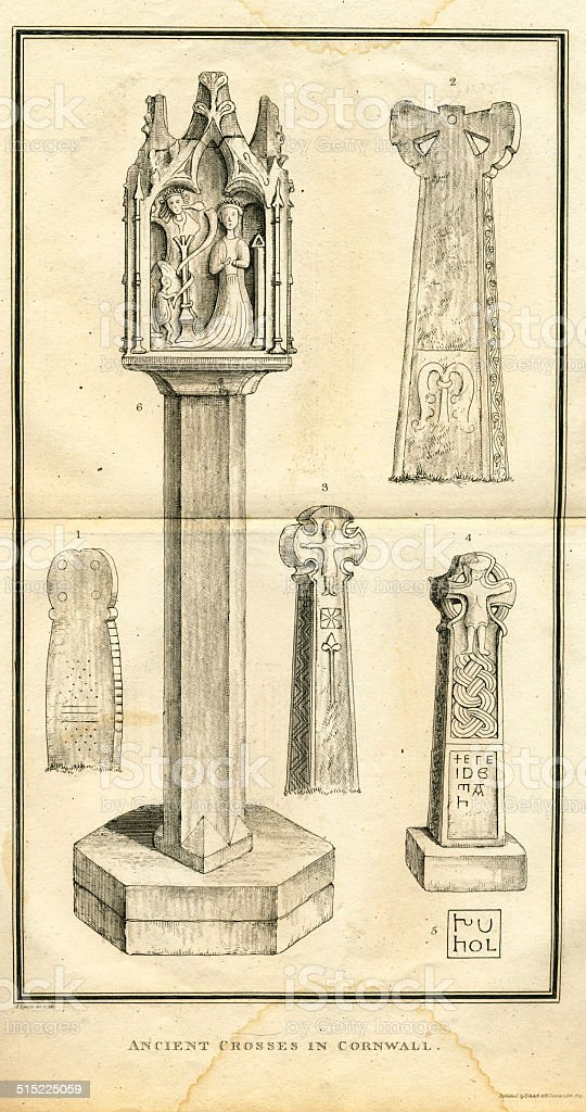 Ancient Crosses in Cornwall vector art illustration