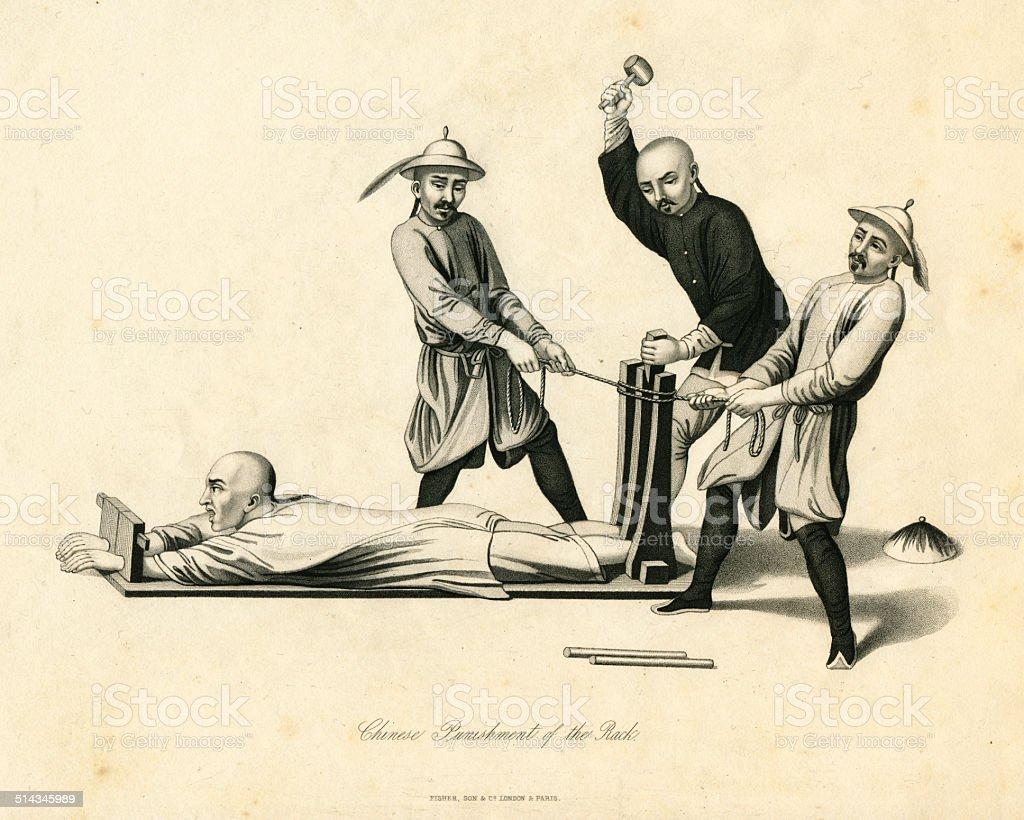 Chinese Punishment Of The Rack 19th century vector art illustration