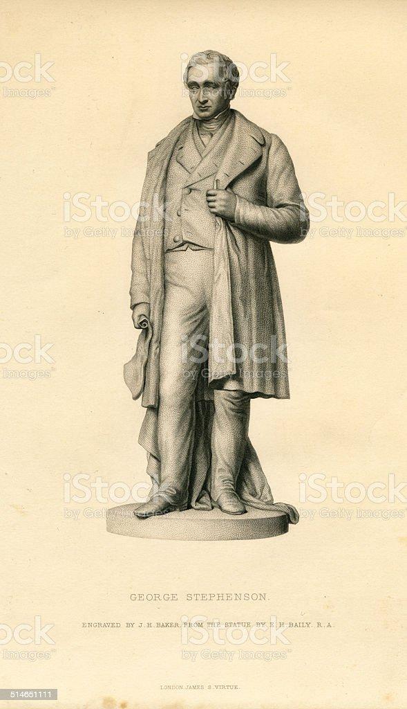 George Stephenson 19th century antique engraving vector art illustration