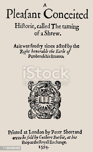 "istock Title page of the first edition of the older, comic-book comedy ""Taming the Unruly"" 1594 1139466483"