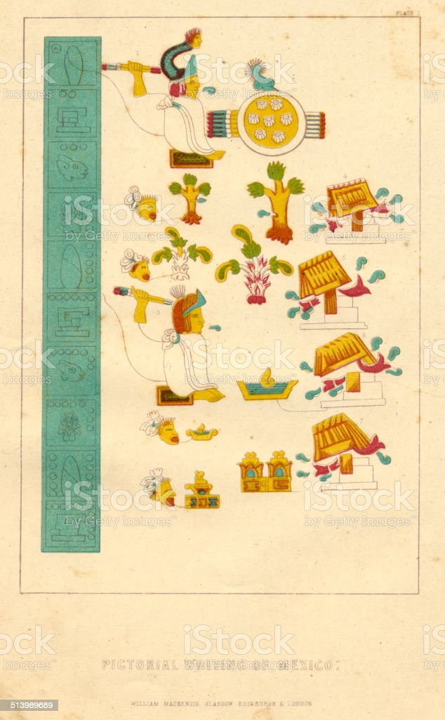 Palaeography pictorial writing of Mexico vector art illustration
