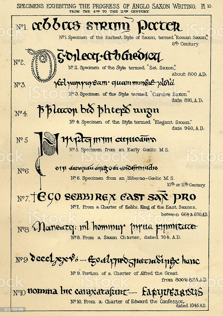 Palaeography handwriting from 6th to 11th century vector art illustration