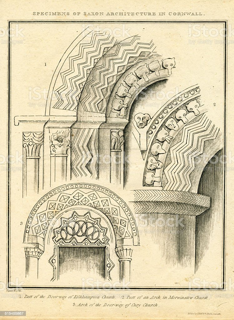 Specimens of Saxon Architecture in Cornwall antique engraving vector art illustration
