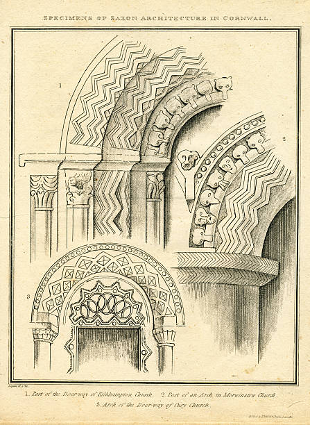 specimens of saxon architecture in cornwall antique engraving - whiteway engraving stock illustrations, clip art, cartoons, & icons