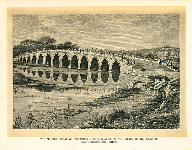china the marble bridge of seventeen arches - whiteway engraving stock illustrations, clip art, cartoons, & icons
