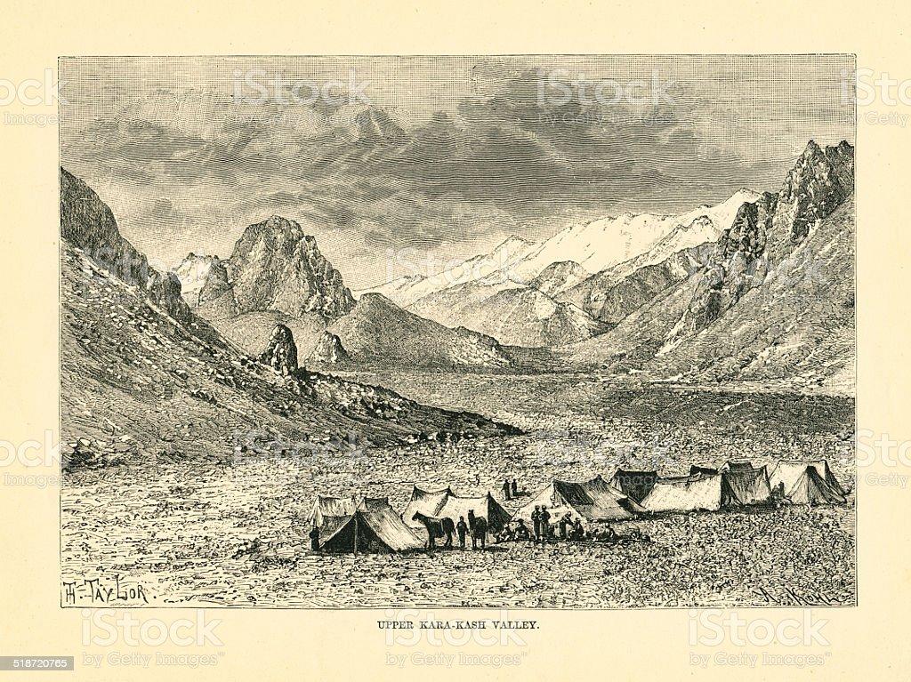 China Upper Kara-Kash Valley vector art illustration