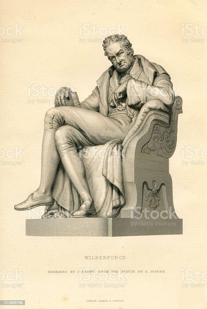 William Wilberforce 19th century engraving vector art illustration