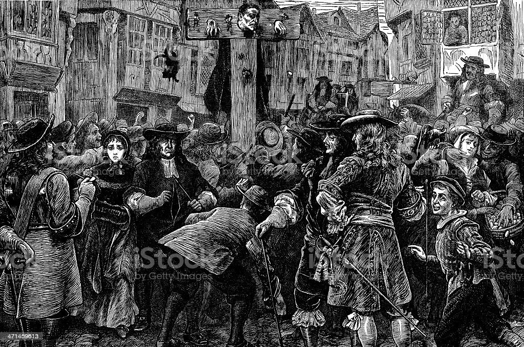 Titus Oates (Popish Plot conspirator) in the Pillory, London (illustration) royalty-free stock vector art