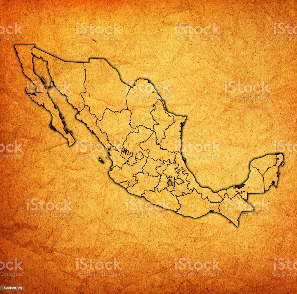 Tlaxcala State On Map With Administrative Divisions And Borders Of