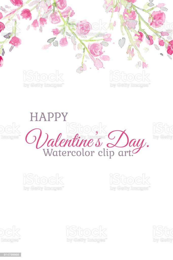 Sevmek Icin Pembe Gul Sulu Boya Kucuk Resimlerle Goruntu Karti
